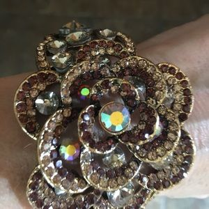 Jewel encrusted gold floral cuff